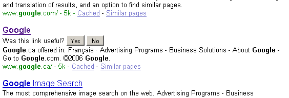 google search feedback